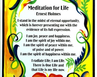 Meditation for Life 11x14 ERNEST HOLMES Inspirational Motivational Quote Typography Poster Office Decor Heartful Art by Raphaella Vaisseau