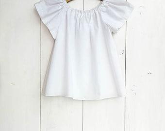 Baby white cotton blouse, baby cotton shirt, toddler blouse, girls blouse, newborn - size 5T