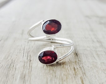 Garnet Ring - Sterling Silver Garnet Ring - January Birthstone Jewelry -Two Stone Ring -Adjustable Ring- Wrap Ring