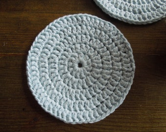 Light blue rustic crochet cotton coasters; Set of 4