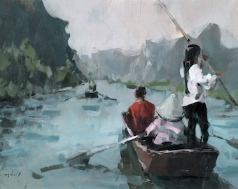 Original Landscape Painting River Boat Mountain Asia - 9x12 by David Lloyd Smith