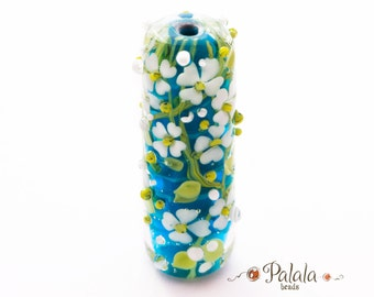 Focal Lampwork Glass Bead with dogwood blossom