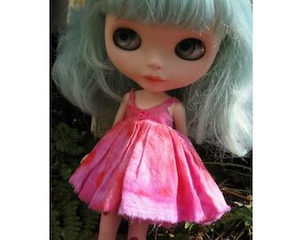 PATTERN Blythe Doll Designer Pattern/Tutorial PDF for Splatter-Dyed Cotton Sundress  by Cindy Sowers