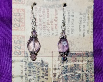 Genuine amethyst sterling silver and crystal earrings. Give your bride the gift of amethysts.
