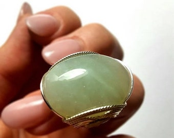 SALE Light Green Ring, Size 7 or Custom Sized, Aventurine Ring, Sterling Silver Handmade, Statement Ring Bohemian Ring, Fashion Jewelry