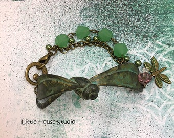 Dragonfly Bracelet, Patina Dragonfly Bracelet, Jade Beads, Charm Bracelet, Dragonfly Charm, Dragonfly Antiqued Bracelet