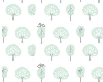 Removable Wallpaper, Peel and stick wallpaper, wallpaper, bird wallpaper, tree wallpaper, mint wallpaper, Self adhesive wallpaper