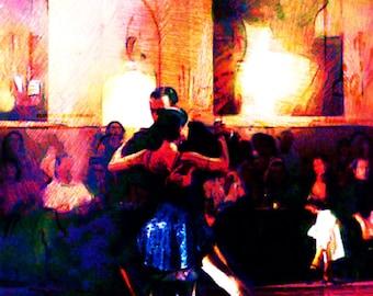 Tango Class limited edition digital print milonga demonstration