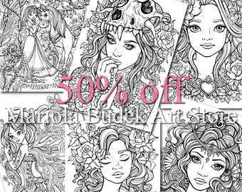 Coloring Pages 6 pack of Line Art | 50% off