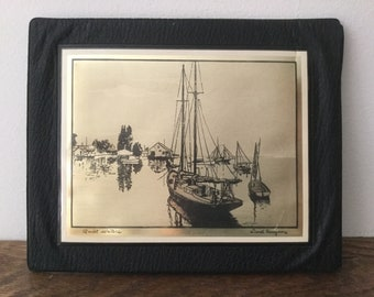 LIONEL BARRYMORE Gold Foil Etching       Quiet Waters      Mounted on Leather Frame