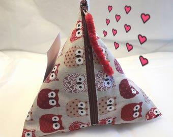 Kit berlingot fabric beige and Red owls size 17/17 / 17cm