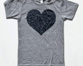 Love Heart T Shirt - Tri-Blend Vintage Apparel - Graphic Tees for Men & Women