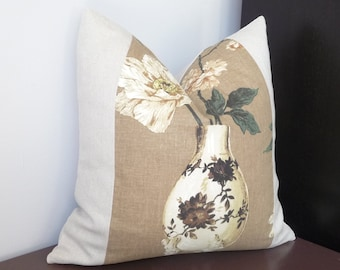 Modern Colorblock Floral Pillow, Floral and Vase Pillow, Contemporary/Modern Decor, Home Accents Pillows, 20x20