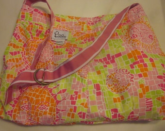 all cotton tote bag, unstructured, repurposed from dress