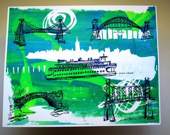 THE FIVE BOROUGHS #06 | handmade screenprint of New York City bridges over swirls of blues & greens by Kathryn DiLego
