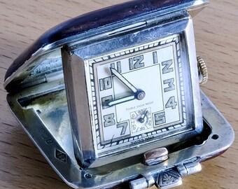 Vtg 1937 Sapho Geneve Art Deco Solid Sterling Silver 15 Jewel Folding Desk Watch