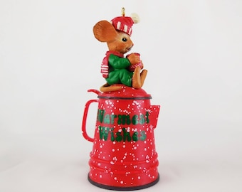 Vintage 1990 Mark Cook ENESCO Treasury Christmas Ornament / Brewing Warm Wishes / Coffee Pot with Mouse sipping from Mug