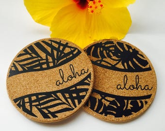 Hawaii Aloha Leaf Coaster Set ~ Hawaii Coaster ~ Aloha Coaster ~ Palm Frond Coaster ~ Tropical Leaf Coaster ~ Hawaii Coaster Set ~ Monstera