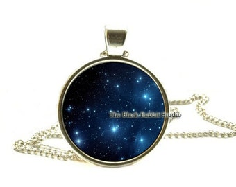 Pleiades star cluster Pendant Pleiades star cluster Necklace Galaxy necklace Space universe pendant key chain key ring key fob