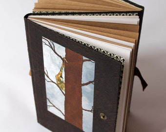 Double notebook, double Sketchbook, Diary, manual, white and brown recycled paper