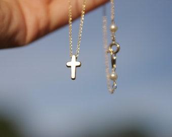 tiny cross necklace, mini cross necklace, gold cross necklace