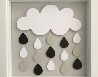 Monochrome Rain Cloud Wall Art