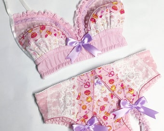 Light Pink Sailor Moon Bra - Pick Your Size - Handmade Vegan Bridal
