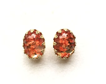 Ohrstecker,Earring Studs,ear studs,real dried flower,coral,koralle,Gold Edge Post,Bridesmaids Gift
