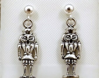 Pewter Nutcracker King Charms on Sterling Silver Ball Post Stud Earrings-0085