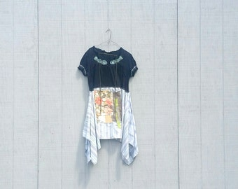 upcycled cotton knit tunic Dress romantic Upcycled Patchwork Dress Funky Tunic Dress Eco Dress Artsy Dress by CreoleSha