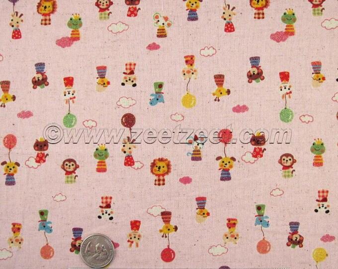 1/2 Yard Kokka MINI ANIMALS, PINK Cotton Linen Japanese Fabric - Home Dec Weight Kawaii