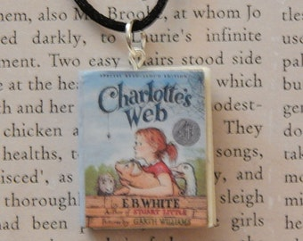 Charlotte's Web Book Necklace, Brooche, or Keychain