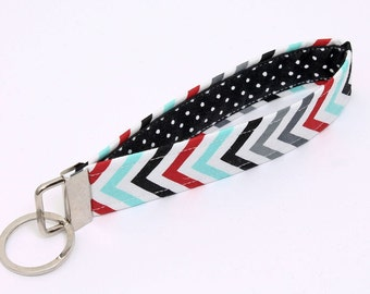 Key fob, chevron fabric keychain wristlet, keyring, key lanyard - blue red white chevron stripes with black and white polka dot