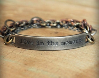"""2pc Indie Inspirational Quote Interchangeable Bracelet ... """"Live in the moment"""""""