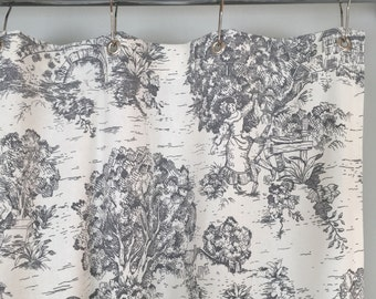 Grey Toile Shower Curtain 72 x 72 or 72 x 84