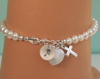 Cross, Heart Pearl, Personalized Pearl Bracelet, First Communion Gift, Flower Girl Bracelet, Child Girl Gift, Sterling Silver, SIZE MEDIUM