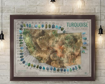 Turquoise of the Southwest Map Poster