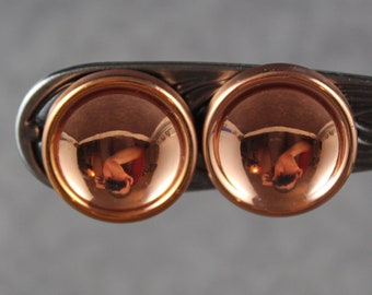 Vintage Renoir Designer Copper Round Clip On Earrings
