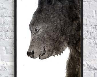 Bear drawing handmade, Highly detailed Print of original drawing, Pencil and charcoal, Black and White, Wild animal drawing