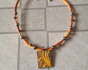 orange and yellow leather necklace