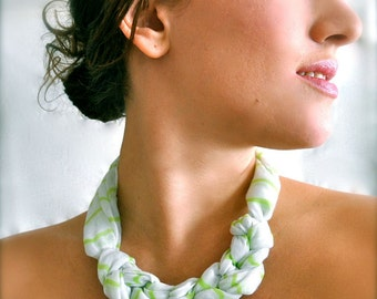 Recycled Scarf Necklace in Green & White