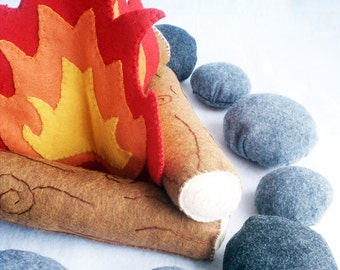 Felt Campfire Plush Playset- flames, logs and rocks