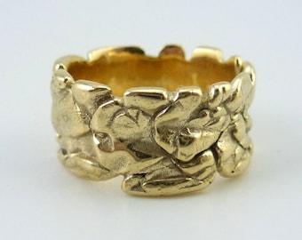"""Ritual Ring, Sculptural Artisan Bronze Ring, Hand Carved Bronze Ring, Modern Gold Bronze Ring, Bronze Boho Ring """"Savoy #2"""""""