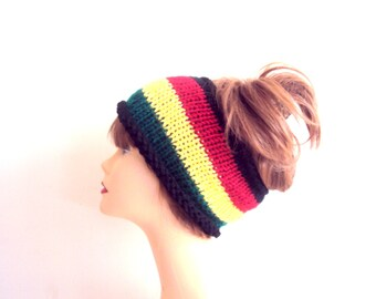 Knit Rasta Headband Dreadlock Headband Knit Boho Headband Womens Yoga Headband Festival Headband