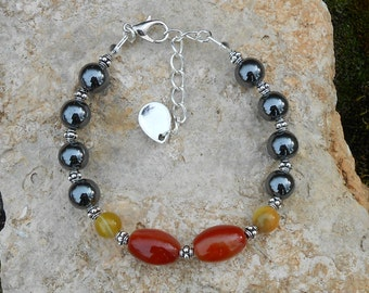 Sardonyx beads and hematite Beads Bracelet