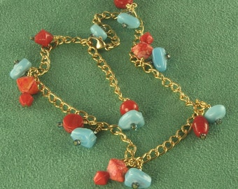 Handmade Tumbled Turquoise Beaded Anklet in Gold