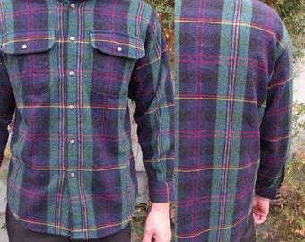 Men's Plaid Button Down shirt, Vintage 70's plaid Flannel