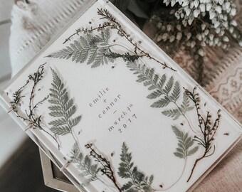 "Resin Wedding Guest Book | Ferns and Florals | Blank Pages | Wedding Album | Pinterest Book | Acrylic Wedding | Photo Album | 5.5"" x 7.5"""