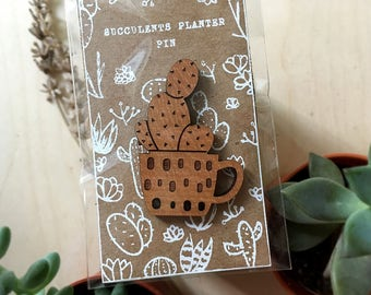 Laser Cut Succulents Planter Pin Brooch | Cactus in Tea Cup