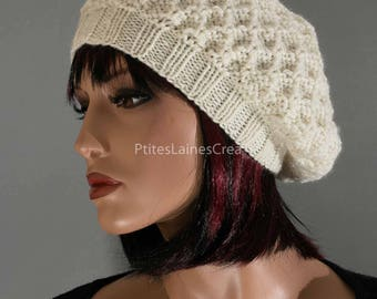 Hand knitted Beanie, beret, white, pure wool